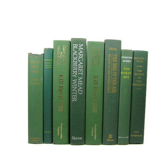 Vintage Green Decorative Books , Photo Props , Vintage Wedding Decor