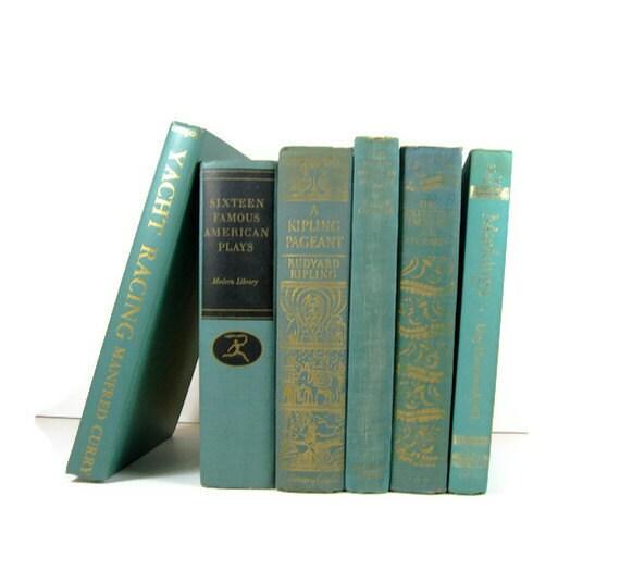 Aqua Turquoise Vintage Decorative Books for Wedding Decor and Photo Prop