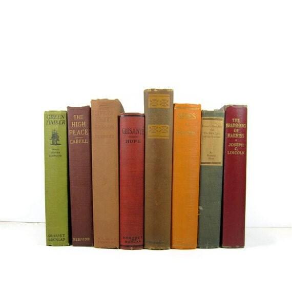 Instant Book Collection Fall  Colors Decorative Books, Vintage Wedding Decor, Vintage  Photography Prop