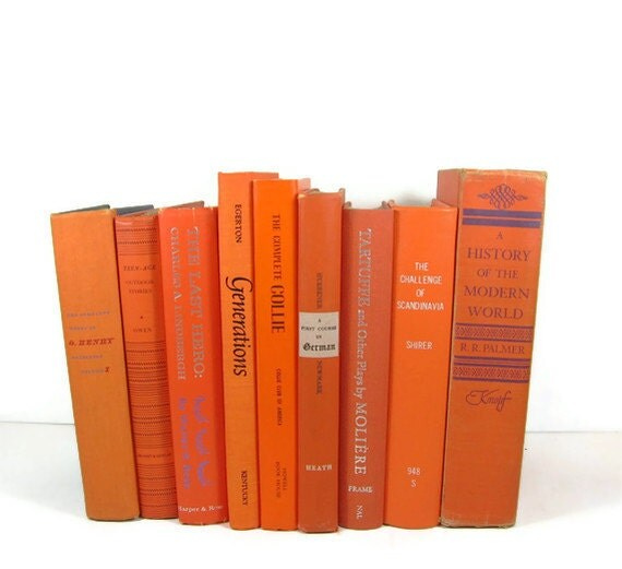 Orange  Collection Vintage Books by Color Instant Collection of Decorative Books for Wedding Decor, Home Decor, and Photography Prop