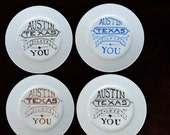 Austin Texas I Love You Plates - Set of 4