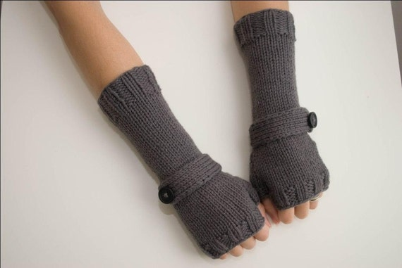 Stormy Gray Wrist Warmers With Strap/Button Detail - last one in this colour