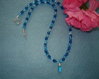Aqua Glass Beaded Necklace With Pendant   FREE SHIPPING