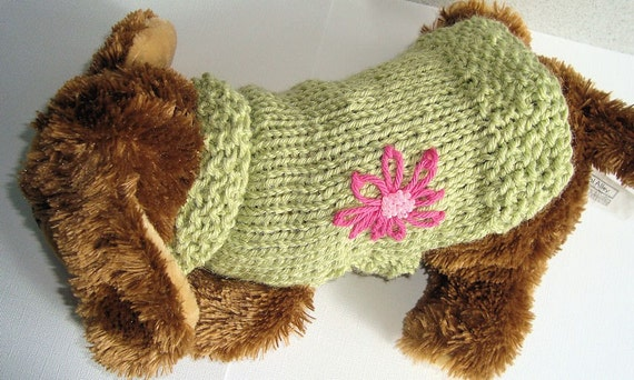 Hand Knit Dog Sweater with Embroidered Flower