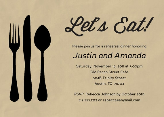Silverware Rehearsal Dinner Invitation - Printable or Printed (w/ FREE Envelopes)