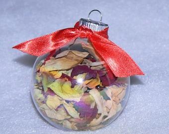 Christmas Ornament Glass Dried Rose Petal