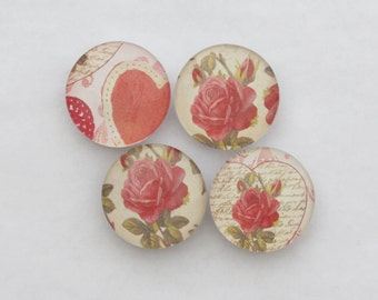 Hearts Roses Magnet Set of 4