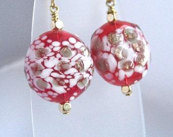 Red art glass earrings