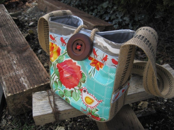 SALE Little Lainy Hip Bag Mini in turquoise oilcloth & camo- for little girlies