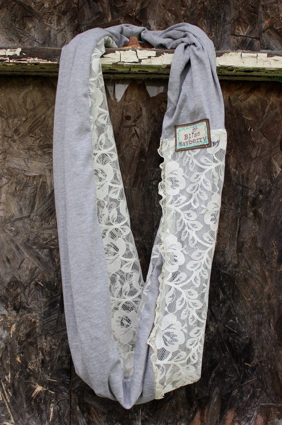 Heidi Beth Loopdy Scarf in oatmeal grey jersey, ivory vintage lace, ruffled vintage lace trim, & leather detail