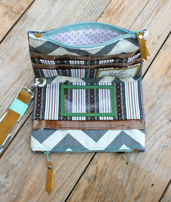 Olivia Clutch in vintage indigo tribal print, grey and white chevron print, reclaimed leather, & mint and turquoise details