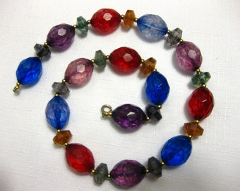 Vintage Colorful Translucent Beaded Necklace