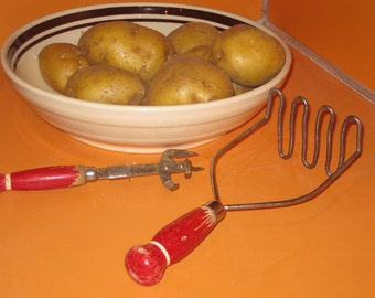 Retro Potato Masher and Can Opener with Red Wooden Handles