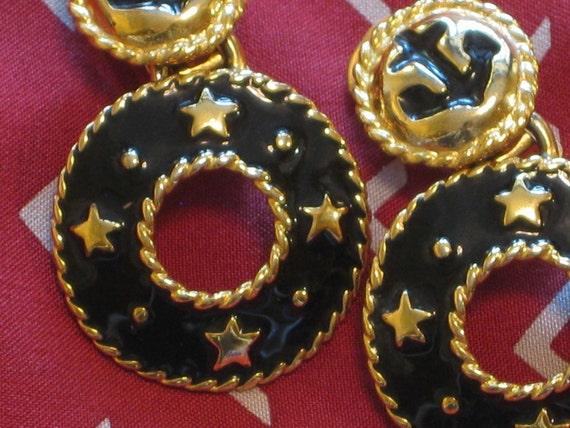 Black and Gold Nautical Earrings