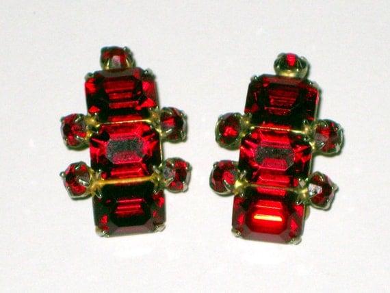 Vintage Coro Red Rhinestone Clip Earrings