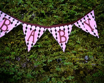 Baby fabric Banner pink and brown.