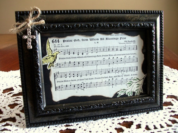 """Framed Art - """"Praise God, From Whom All Blessings Flow"""" Hymnbook Page"""