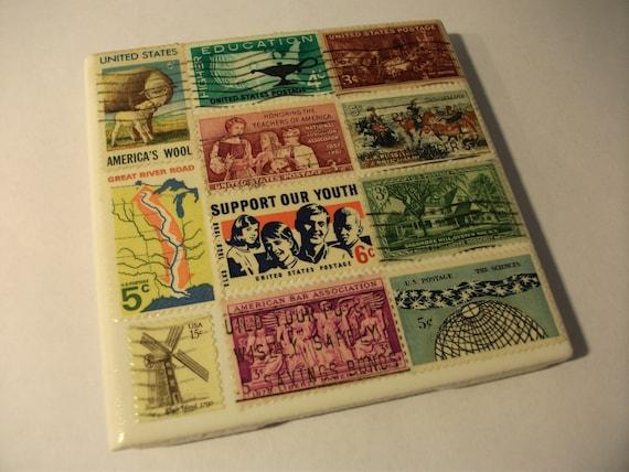 Ceramic Coasters Set of 4 - Old Postage Stamps