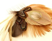Gone Fishin - Brown and tan feather hair comb