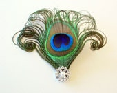 Prim - Peacock feather hair clip / Bridal fascinator / Feather hair accessory