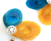 SALE Kaleidoscope - Feather shoe clips / Turquoise yellow / Peacock shoe clips