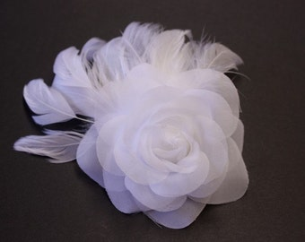 Dream a Little Dream of Me - White flower and feather bridal fascinator