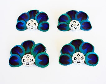 Feather bridesmaid clips - Set of 4 Glamorous peacock feather fascinators / Peacock hair clips