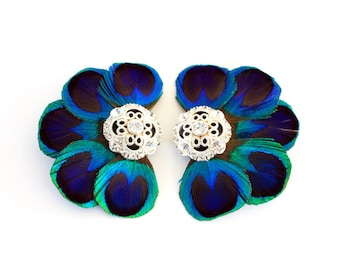 Love - Bridal shoe clips / Peacock shoe clips / Something Blue