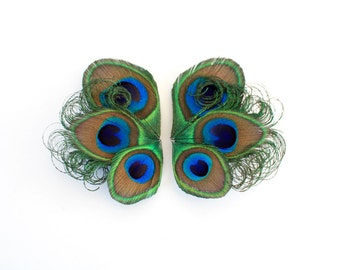 Candid - Small peacock shoe clips / Peacock shoe clips / Feather shoe clips