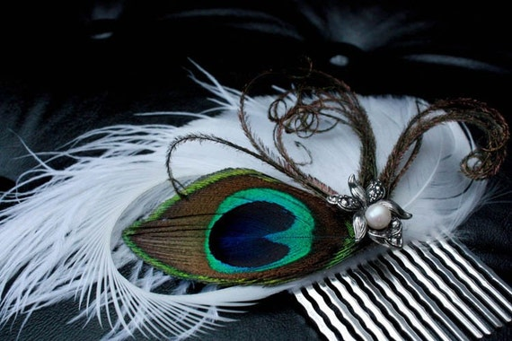 Journeys End - White feather hair comb with peacock