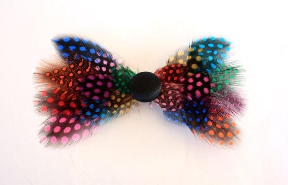 SALE Venus - Rainbow feather hair clip / Rainbow hair bow
