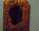 Antique Wall MIRROR Gold Tone with Unique FLORAL Iris FRAME Small