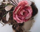 Alice Rose Tea Party- Pink Rose w/ Green and Pink Feathers Hair Coiffure