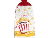 CLEARANCE - Butter Popcorn - Movie style towel - 100 percent cotton top - RED - crocheted