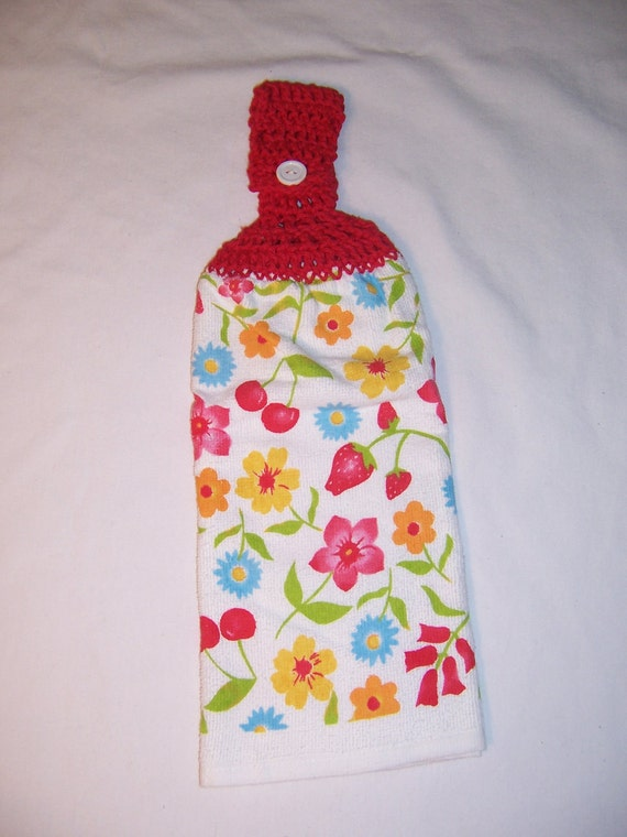 CLEARANCE - Fruit and Flower Kitchen Towel - 100 percent cotton top - Red - crocheted