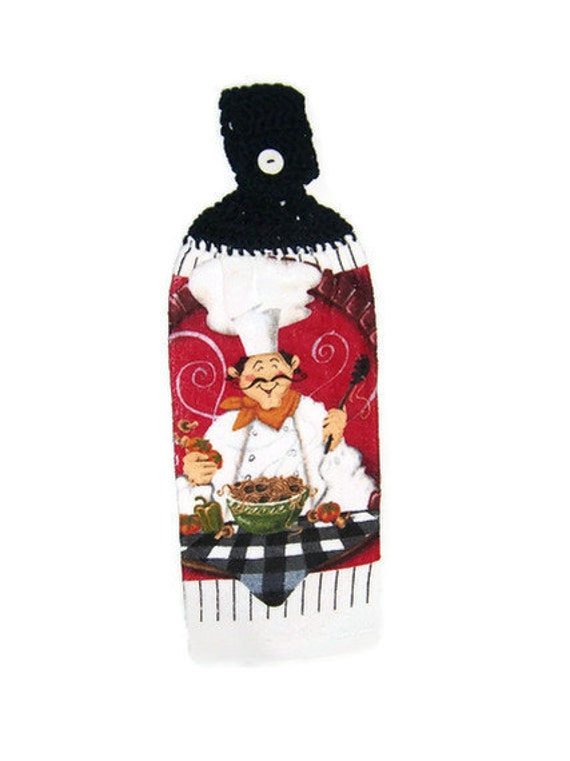 Chef Kitchen Towel with crocheted Black top