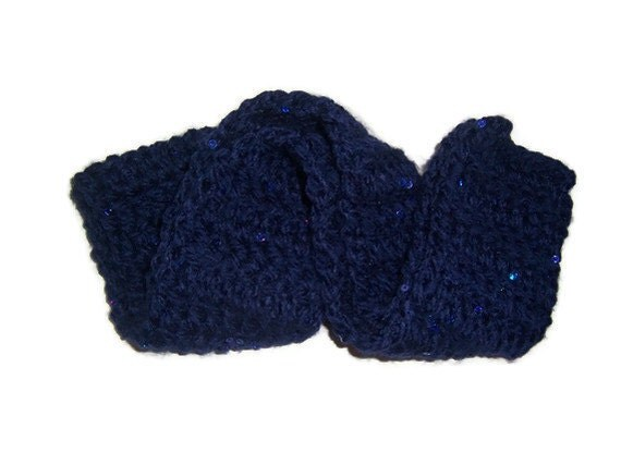 Dark Navy Blue Scarf with Sequins - FREE SHIPPING