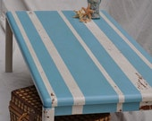 Distressed Coffee Table -Shabby Chic- Beachy Blue and White Striped Distressed