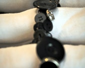 Hand Sewn Napkin Rings- Set of 4 - Black Vintage Buttons