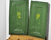 Ceiling Tin Painting Pair. Crackled Architectural Salvage Green Tin Floral Art. Painted Antique Ceiling Tin Set of 2
