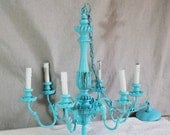 Large Ornate Chandelier. Stunning Blue Vintage Chandelier. Faux Candle Drip 6 Arm Romantic Lighting