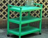 Shabby Striped Cart. Upcycled Vintage Cart in Distressed Green & Blue Stripes