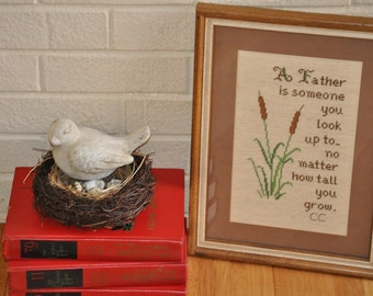Vintage Poem for Father Dad Framed Hand Cross Stitched Gift For Him Father's Day Gift