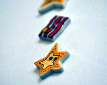 Ceramic Buttons /Destash Stars and American Flag Set  1 in.- Set of 3
