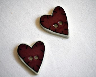 Ceramic Heart Buttons /Destash Set of 2 Country Farmhouse 1 in.
