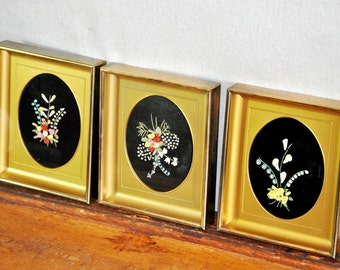 Framed Antique Porcelain Floral Art Set Sculpures Oval Miniature Ceramic Flowers Collection Trio Homespunsociety