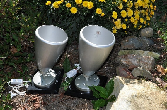 Pair of Uplights/ Lamp Set / Mid Century Silver Flood Lights Recycled Upcycled Accent Lighting