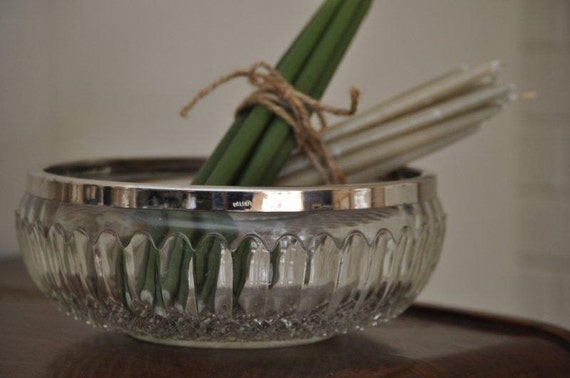 Leaded Crystal Bowl with Silver Rim from England / Cut Glass / Perfect Size for Salads