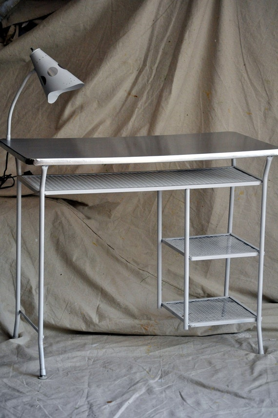 Reserved:  MidCentury Metal Desk with Lamp- White With Silver Accents