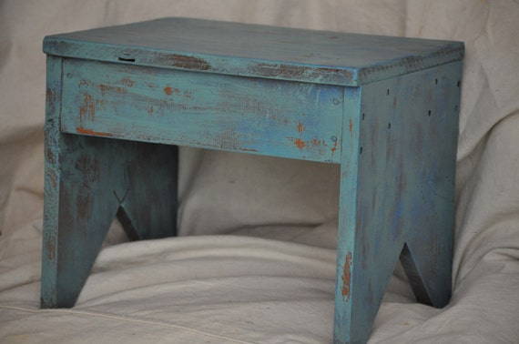 Small  Stool Shabby Chic Blue Green From The Velvet Branch